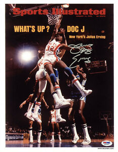 Julius Erving  SIGNED Sports Illustrated Print NJ Nets ITP PSA/DNA AUTOGRAPHED