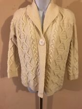 Inis Crafts Women's Ivory Fishermans Sweater With One Button Closure Size S