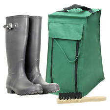 4YourHome PVC Backed Polyester Wellinton Boot Storage Bag and Brush Green