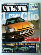 L'AUTO-JOURNAL du 3/1998; Essai Clio/ Salon de Genève/ Porsche 911 Cab/ Focus