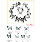 24 Pcs/set Black White 3d Butterfly Wall Sticker Wedding Decoration Home Decuec
