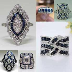 925 Silver Rings Cute Emerald Cut Cubic Zirconia Women Engagement Ring Size 6-10