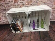 2 vintage / rustique en bois blanc lavé Apple caisses, boîtes de rangement idéale / affichage