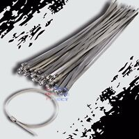 "10"" Stainless Steel Exhaust Wrap UL Approved Locking Cable Zip Ties Metal 100 Pc"