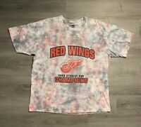 Detroit Red Wings Champions 2002 Vintage Stanley Cup T-Shirt Mens XL red