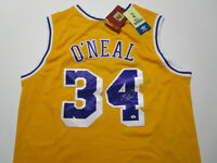 SHAQUILLE O'NEAL / AUTOGRAPHED L.A. LAKERS THROWBACK BASKETBALL JERSEY / COA