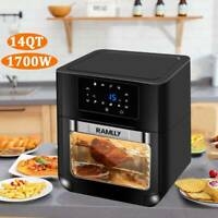 14Qt Digital Air Fryer Oven with Rotisserie, Dehydrator, Convection Oven 1700W
