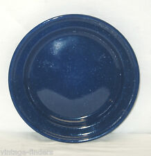 Vintage Style Graniteware Plate Kitchen / Camping Tool Blue w White Specks