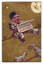Child Sings Au Clair De La Lune Moon & Cats Watch Victorian Trade Card *VT14
