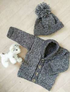 "Baby Boys Easy Shawl Collar Jacket Cardigan Hat KNITTING PATTERN DK 12 - 20"" beg"