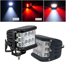 """2x 4"""" INCH 45W Pods Combo LED Work Light Strobe Lamp White & Red Offroad Driving"""