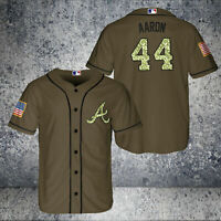 Atlanta Braves #44 Hank Aaron Brown Baseball Jersey Fanmade Size S-5XL New