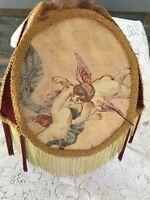 "Lamp Shade Angels Cherubs Print on Fabric w Fringe Trim 4 Sided  12"" Tall"