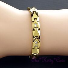 Magnetic Tungsten Powerful Arthritis CTS RSI Relief Crystal 24K Gold PL Bracelet
