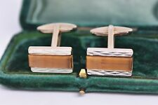 Vintage Art Deco Sterling Silver cufflinks with a Tigers eye insert #B971