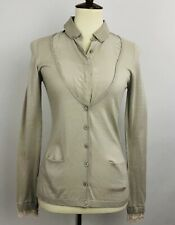 LES CAPAINS Womens Beige  Cardigan Sweater 40 Made Italy