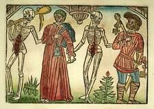 LA GRANDE DANSE MACABRE squelette LA MORT DU GEOLIER, Gravure originale sur bois