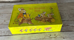 Vintage My School Pencil Box General Box Co. Cardboard Animals Birds Bugs