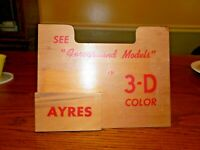 "Vintage Ayres ""Foreground Models in 3-D Color"" Wooden Ad Display"
