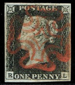1840 1d Black Pl 4 RL 4m Fine Full Red Maltese Cross Superb Used Cat. £400.00
