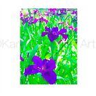ACEO ATC Art Card Watercolor Print Signed Floral Purple Iris Flower Garden