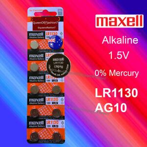 10 X Maxell 0%Hg LR1130 QueenOf7 Battery (AG10/390)1.5V Alkaline Batteries Local