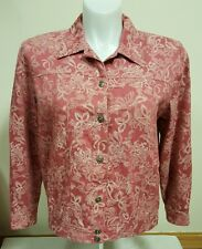 Alfred Dunner Women's Jean Jacket Pink Floral Button Up 100% Cotton Size 14