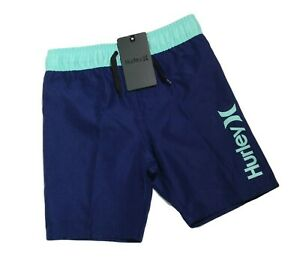 New Hurley Boys' Pull on Board Shorts Swim Trunks Navy & Turquoise Choose Size