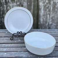 Vintage Centura by Corning Gold Rim Coupe Cereal Bowl and Bread & Butter Plate