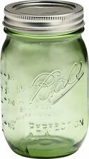 Green Quart Size Mason Jars 32 Oz Set of 6 Bands Lids Gifts in Jars Canning NEW