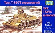 Unimodels 1/72 T34/76 Russian WWII Screened Tank Plastic Model Kit 368 NEW!