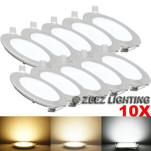"10X Cool White 9W 6"" Round LED Recessed Ceiling Panel Down Lights Bulb Slim Lamp"