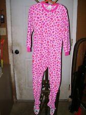 Girl's Circo Pink Animal Print Jumpsuit Pajamas with Footies Size Small