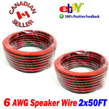 100FT 30m (2x 50FT) High Definition 6 Gauge AWG Speaker Wire Cable Home Theater