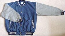 Light Weight, Mid Blue Denim / Gray Tone Cotton Sleeves Baseball Jacket (Size S)