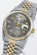 Rolex Mens Datejust 18K Gold & Steel Silver Diamond Jubilee 16013 Quickset
