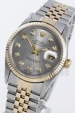 Rolex Mens Datejust Yellow Gold & Steel Silver Diamond Jubilee 16013 Quickset