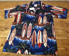 Nui Nalu Hawaiian Surf Surfing Shirt Boys Size 12 Tiny Navy Blue Boards NEW
