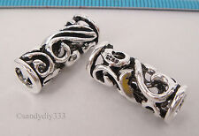 1x OXIDIZED STERLING SILVER FLOWER TUBE CORD SPACER BEADS 8.5mm 19.6mm #1871