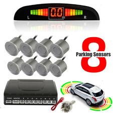 Front Rear Car Reverse 8 Grey Parking Sensors Kit Alarm Buzzer System + Display