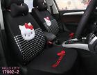 New Universal Car Cushion Cartoon Hello Kitty Linen Car Seat Covers Black 1 Sets