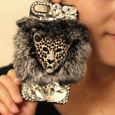 3D Luxury Bling Diamonds Rhinestone Plush Fuzzy Rabbit Fur Back Phone Case Cover