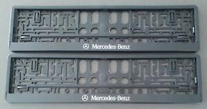 2 x NUMBER PLATE SURROUNDS HOLDER FRAME, BLACK, FITS MERCEDES-BENZ CARS SUV VAN