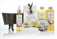 Pinkleaf Nature Spa Vanilla, Argan Oil, Bath Gift Set, in Antique Brass Tub