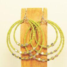 "2"" Green Color Triple Hoop Bohemian Bling Handmade Bali Seed Bead Earring"