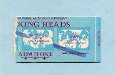 1978 Talking Heads Concert Ticket Stub Ucsb Santa Barbara Ca David Byrne