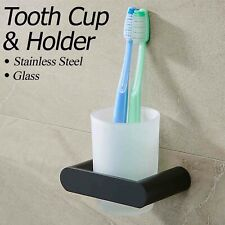 Bathroom Accessories ROUND Toothbrush Holder Stainless Steel Hanger Glass Cup