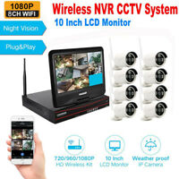 "8CH 1080P Wireless Security Camera System 10""LCD Monitor 2TB WiFi NVR Kit IP66"