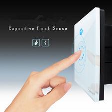 New 86 EU Sonoff Touch WiFi Wireless Smart Swtich Luxury Glass Panel LED Light