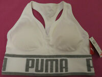 NEW PUMA Sports Compression Racer Back White Bra M